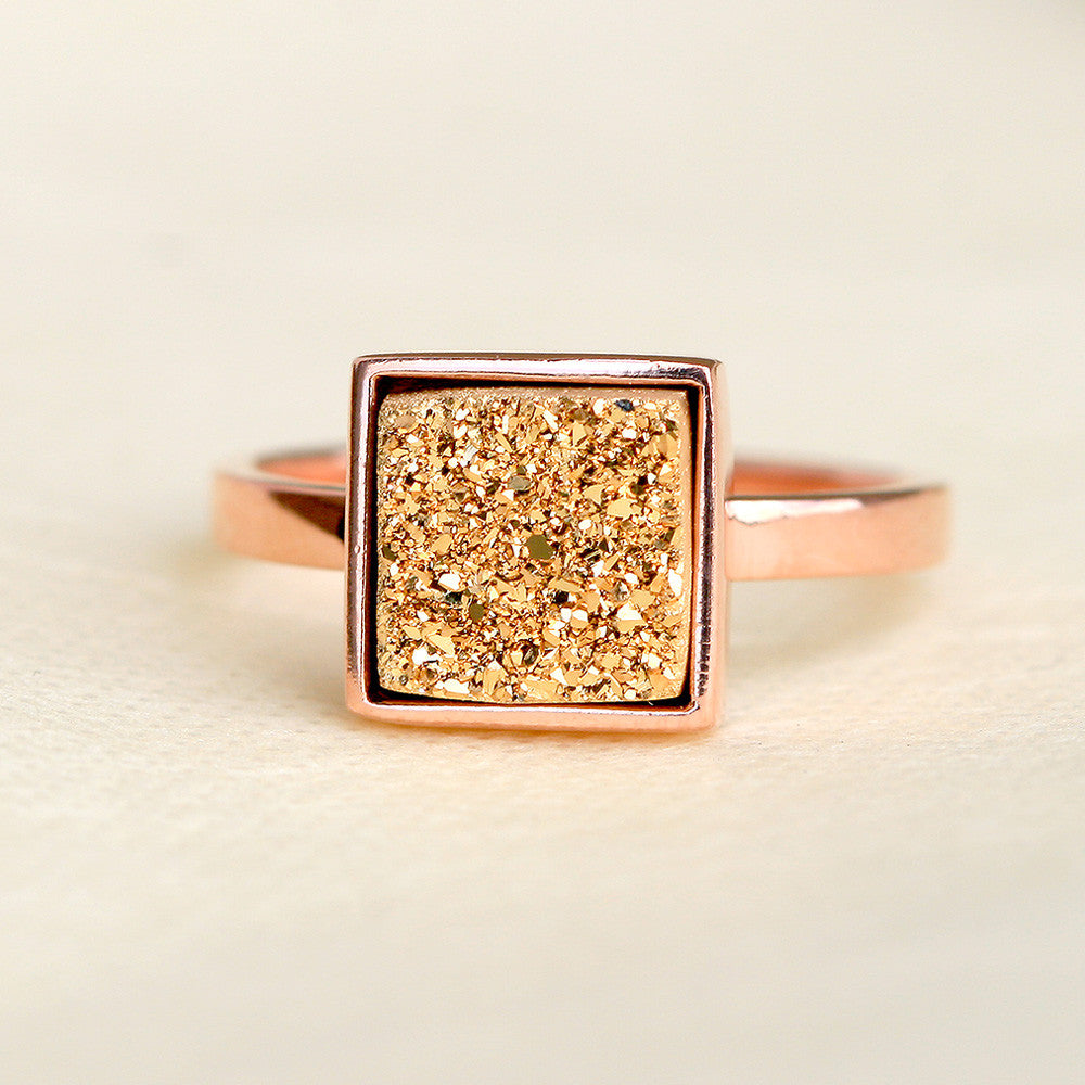Rose Gold,Druzy Ring,Druzy ring,Quartz Ring,Geode Ring,Agate ring