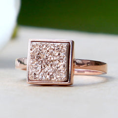 Rose Gold,Druzy Ring,Quartz Ring,Geode Ring,Stone Ring,drusy ring,Delicate Ring,Silver Ring,agate ring,unique,handmade,stacking,jewelry