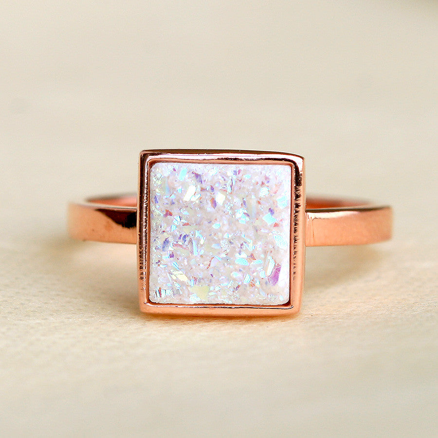 White Druzy Ring,Quartz Ring,Geode Ring,Stone Ring,Rose gold ring,delicate ring,drusy,gemstone ring,silver,jewelry,sparkle ring,raw crystal