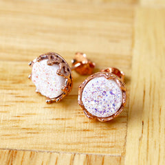 Bridesmaid gifts,Rose gold,Rose gold earrings,Stud Earrings,Geode Earrings,Druzy Earrings,Drusy Earrings,Gemstone,Silver stud,Agate Earring
