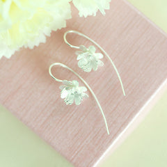 Rose Flower silver matte earrings 925 sterling silver