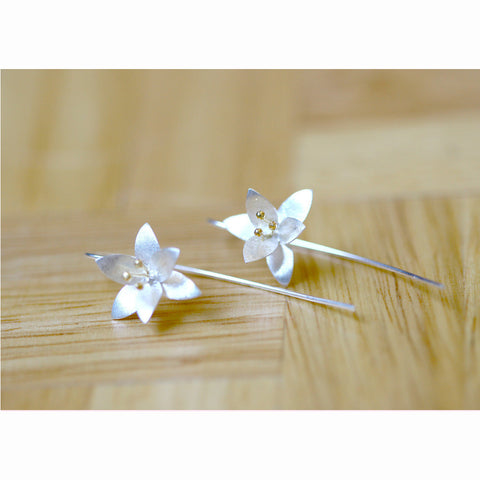 24k Gold pollen Millingtonia hortensis Flower silver matte earrings 925 sterling silver