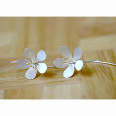Silver Pollen Flower silver matte earrings 925 sterling silver