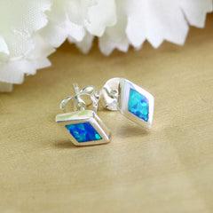 Blue diamond shape Opal Earrings,Geode Earrings,Gemstone Earrings,Stud Earrings,925 Sterling Silver,Opal Stud,Tiny Stud,opal stud