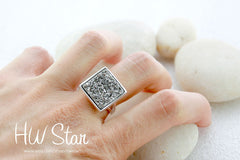 0033_DRS,Statement Ring,Geode Ring,Druzy Ring,Drusy Ring,Drusy Quartz,Agate Ring,925 Sterling Silver