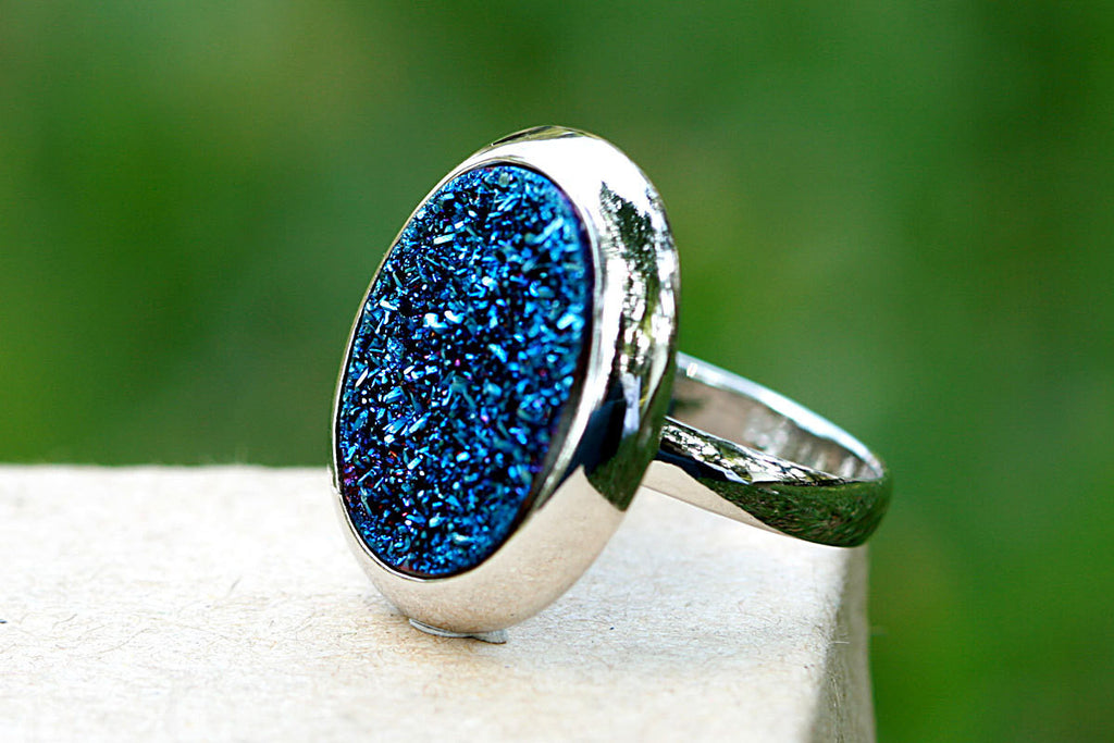 Geode Ring,Agate Ring,Drusy Ring,Druzy Ring,Drusy Quartz,Statement ring,Cocktail ring,stone ring,sparkle ring,silver,unique,jewelry,stone
