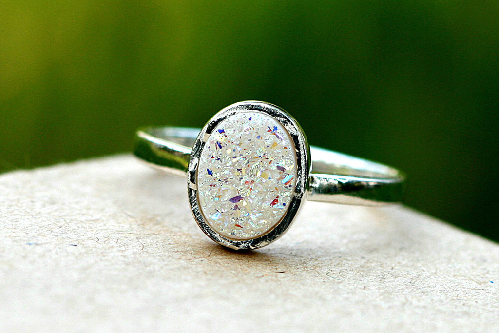 White ring,Geode Ring,Druzy Ring,Crystal Ring,Stone Ring,Stacking Ring,Mother Ring,Girl gift,Silver band,Gemstone Ring