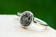 0015_DRS,Druzy ring,Stone Ring,Silver 925 Ring