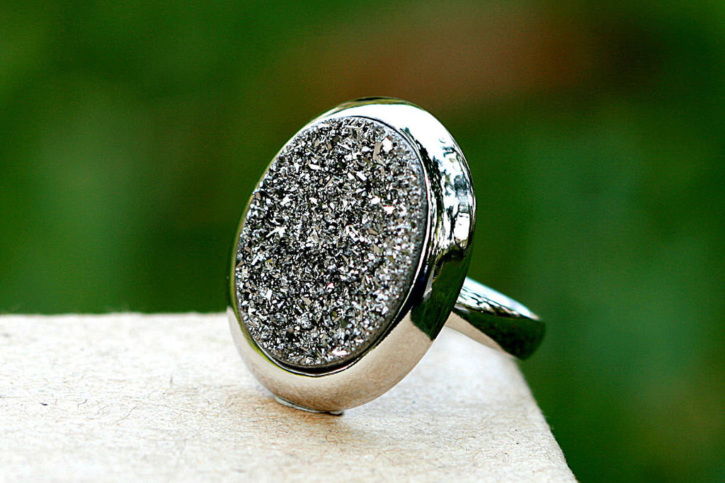 Geode Ring,Agate Ring,Drusy Ring,Druzy Ring,Drusy Quartz,Statement ring,Cocktail ring,stone ring,sparkle ring,silver,unique,jewelry