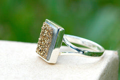 Druzy Ring,Drusy Ring,Drusy Quartz,Agate Ring,Statement Ring,925 Sterling Silver
