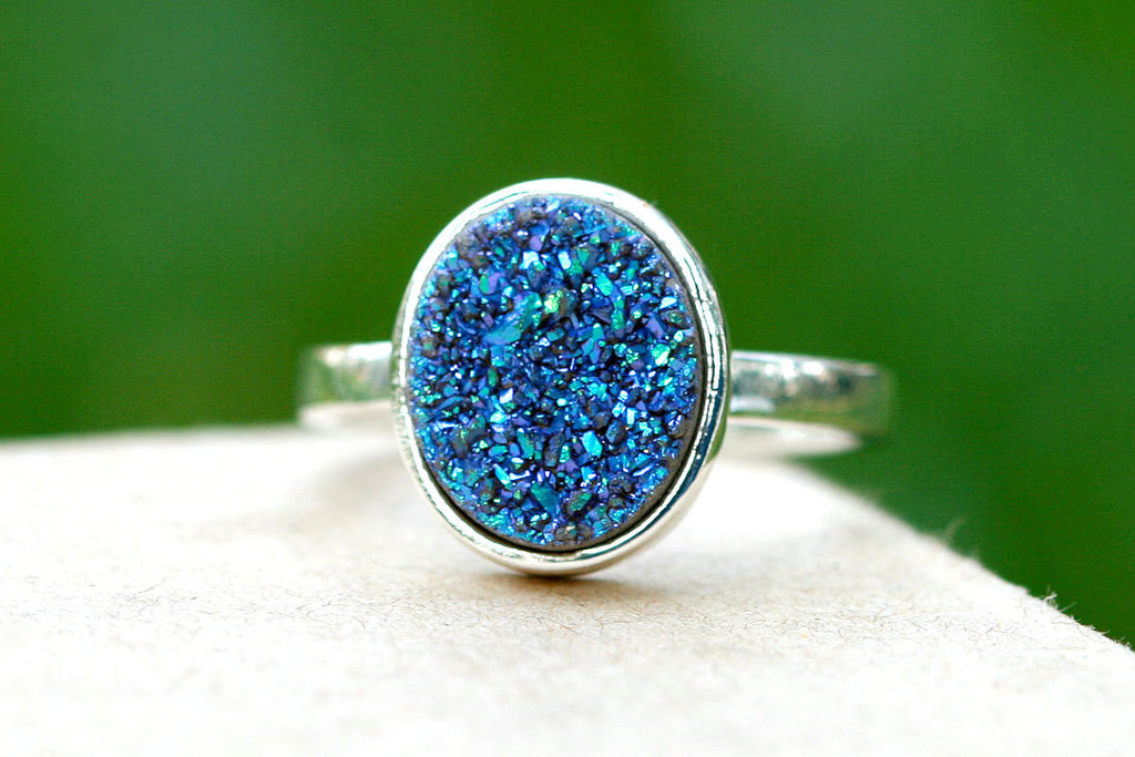 0023_DYPU,Geode Ring,Statement Ring,Agate Ring,Sparkle Ring,Druzy Ring,Drusy Ring,Drusy Quartz,Stone Ring,925 Sterling Silver