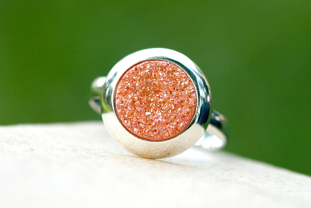 Druzy Ring,Geode Ring,Statement ring,Cocktail ring,Crystal Ring,sterling ring,silver band,simple ring,Sterling silver