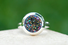 Druzy ring,Geode ring,Gemstone ring,Peacock ring,Crystal ring,Drusy ring,Quartz Ring,Stone ring,Agate ring,Raw crystal,Silver,Jewelry,Druzy