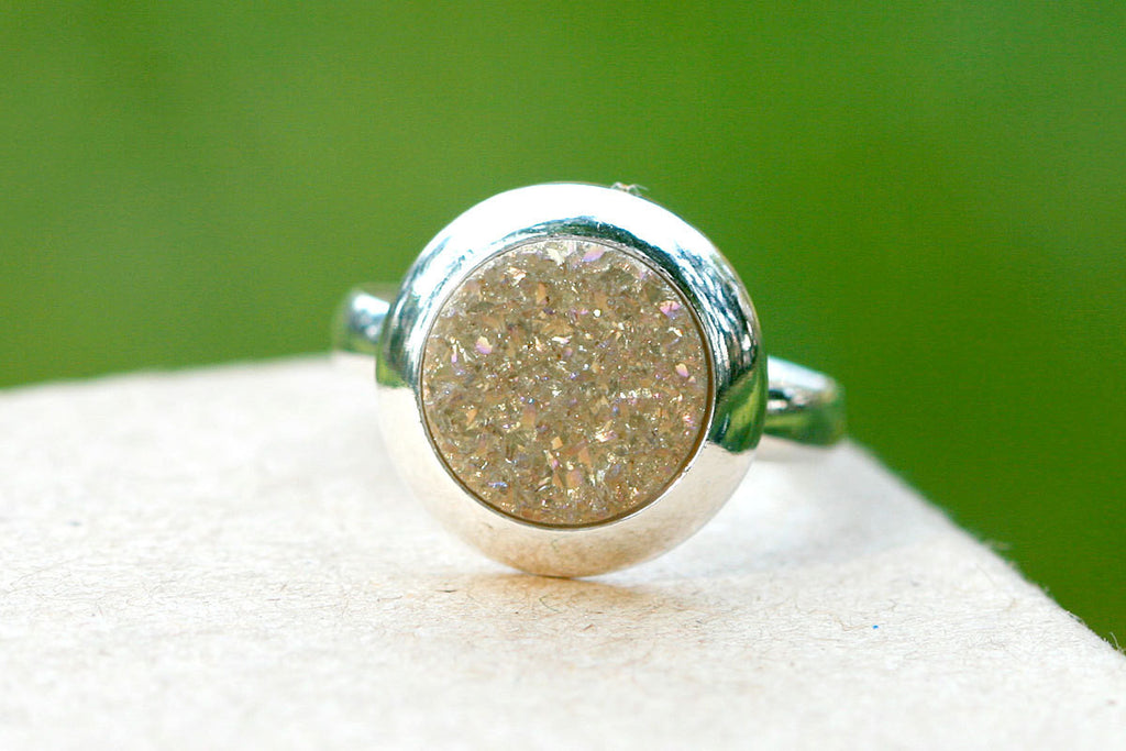Druzy Ring,Crystal Ring,Geode Ring,Cocktail Ring,Stone Ring,Quartz Ring,Mothering Ring,Silver ring,gemstone ring,Geoded,quartz