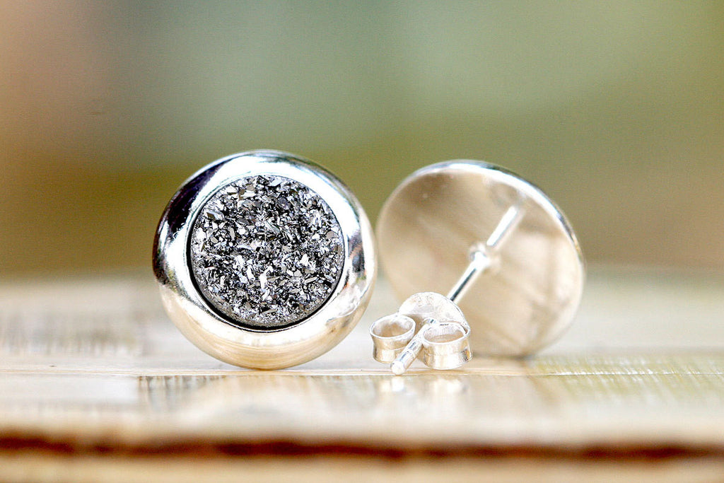 Stud Earrings,Geode Earrings,Druzy Earrings,Drusy Earrings,Stone earrings,Geode,quartz,stud,silver,drusy,druzy,stud,earring,august find