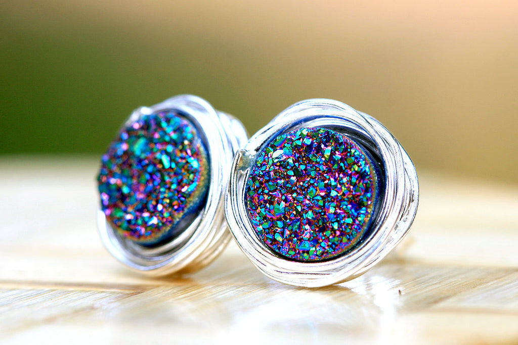Druzy Earrings,Geode Earrings,Drusy Earrings,Quartz earrings,Silver stud
