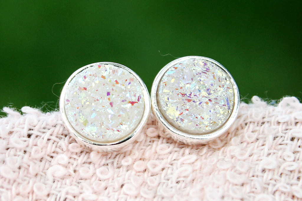 Druzy Stud Earrings,Geode Earrings,Druzy Earrings,Drusy Earrings,Gemstone earrings,bridesmaid gift,Silver stud,Agate Earrings,Crystal Stud