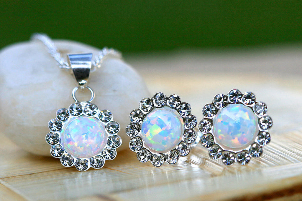 0005_OPSW,Opal Earrings,Stud Earrings,Opal pendant,Agate earrings,Stone earrings,Opal Necklace,New trend,Graduation,October birthstone