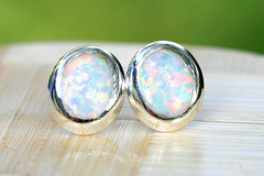 Opal Earrings,Geode Earrings,Gemstone Earrings,Stud Earrings,925 Sterling Silver,Opal Stud