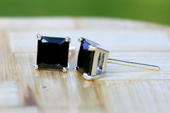 Unisex Earrings,6 mm Black CZ Stud Earrings,Tiny Stud Earrings,Sterling Silver CZ Diamond Studs,Simple Minimalist Everyday Jewelry