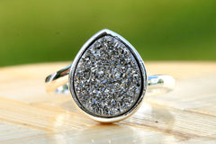 Druzy Ring,Drusy Ring,Drusy Quartz,Agate Ring,Gemstone Ring