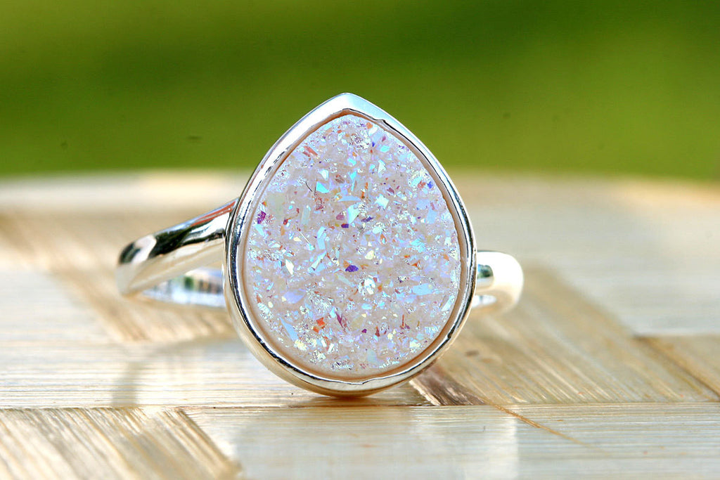 0119_DRW,Druzy Ring,Drusy Ring,Drusy Quartz,Agate Ring,Gemstone Ring,Geode Ring,statement ring,stone ring,agate ring,silver,teardrop
