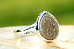 Champagne Druzy Ring,Drusy Ring,Drusy Quartz,Agate Ring,Gemstone Ring,Geode Ring,statement ring,925 Sterling Silver
