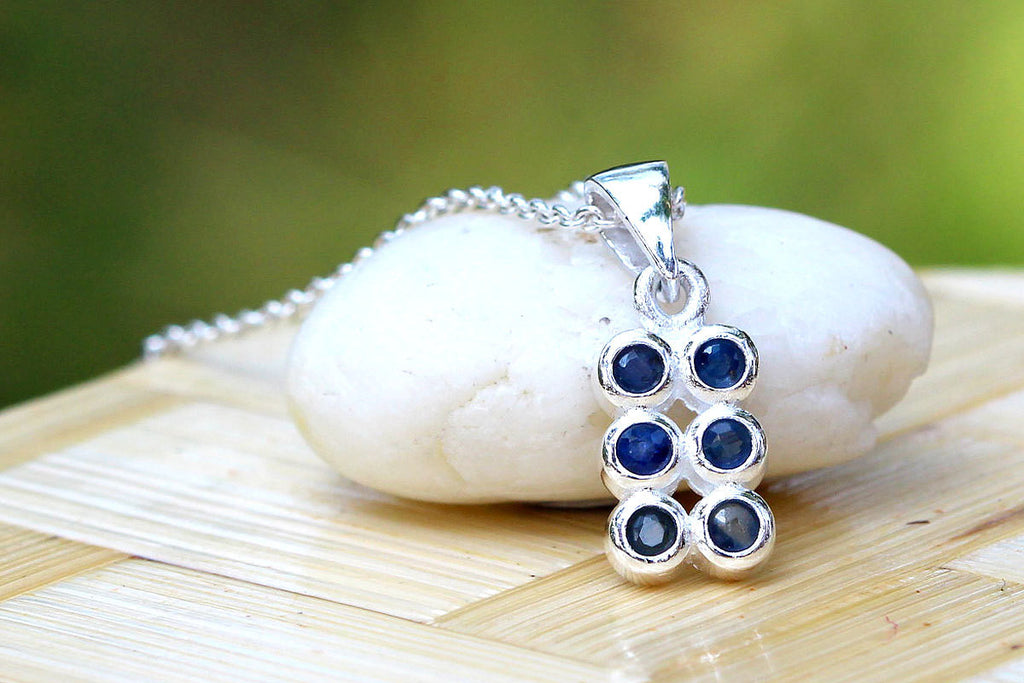 Square Blue Sapphire Necklace,Blue Spinel Necklace,Gemstone Necklace,September Birthstone,925 Sterling Silver Necklace