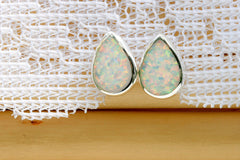 0003_OPSW,Opal Earrings,Teardrop Earrings,Gemstone earrings,Agate earrings,Stud earrings,925 Sterling silver