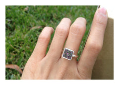 Druzy Ring,Peacock Ring,Geode Ring,Square Ring,Stone Ring,Crystal Ring,Simple Ring,Drusy ring,Gemstone ring,Silver,Quartz,druzy