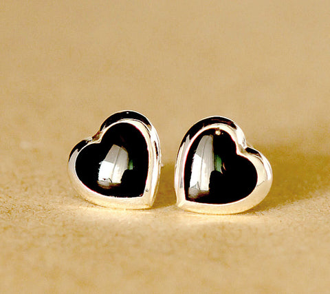 Stud earrings,Onyx stud,heart earrings,black stud,black earrings,sterling silver,Silver stud,Simple stud,June Gifts,June find