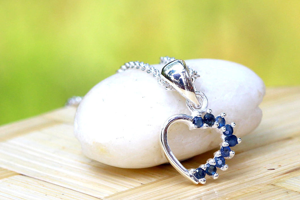 Blue Sapphire Necklace,Blue Spinel Necklace,Gemstone Necklace,September Birthstone,Silver Necklace,Summer,Trending,anniversary gifts