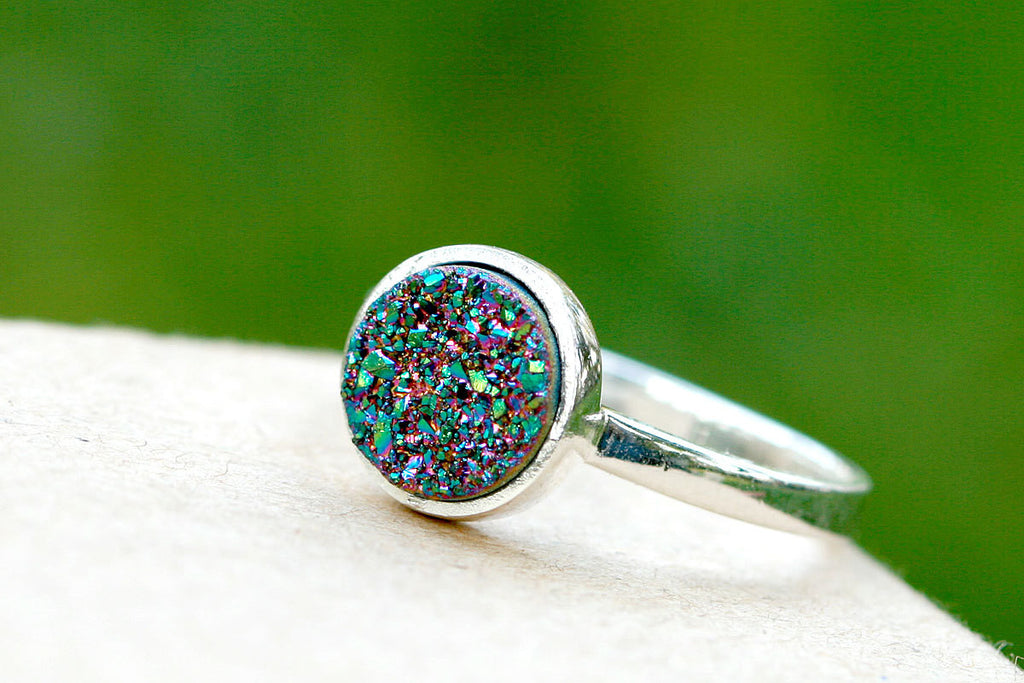 Peacock Ring,Druzy Ring,Stacking Ring,Quartz Ring,Geode Ring,Peacock,Drusy Ring,Stone Ring,Geode,Quartz,Jewelry,Silver,Summer,August,CIJ
