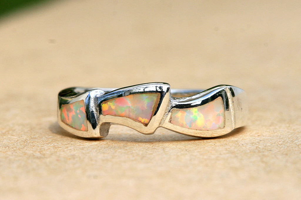 Opal Ring,inlaid Opal Ring,Sterling Silver,October birthstone,Statement ring,Agate ring,Gemstone Ring,Geode Ring,Father Day,Summer,Trending