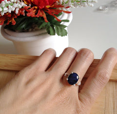 40% Off Blue Sapphire Ring,Geode Ring,Statement Ring,Agate Ring,Stone Ring,Gemstone Ring,Summer,Sapphire,Gifts idea,birthstone jewelry,sapph