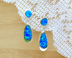 Opal Earrings,Geode Earrings,Gemstone Earrings,Agate Earrings,October Birthstone,Stone earrings,Opal,Jewelry,Silver,