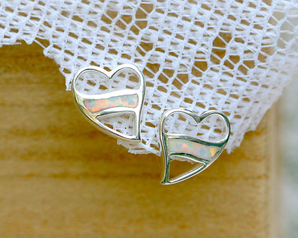 0153_OPEW,Opal Earrings,Stud Earrings,Geode Earrings,Gemstone Earrings,Agate Earrings,October Birthstone,Stone earrings,Jewelry,Opal,Silver,heart