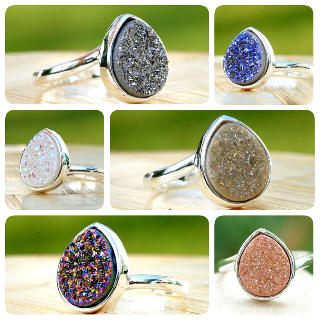 Druzy Ring,Drusy Ring,Drusy Quartz,Agate Ring,Gemstone Ring,Geode Ring,statement ring,925 Sterling Silver!!