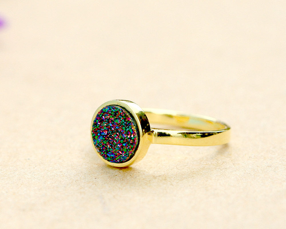 Peacock Ring,Druzy Ring,Crystal Ring,Cocktail Ring,Geode Ring,Gold Ring,drusy Ring,Peacock,Sterling silver,Stacking ring,quartz ring,