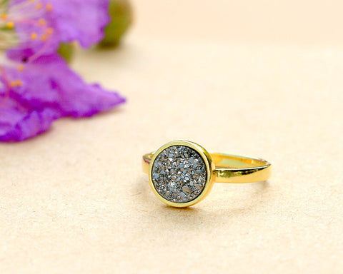 14k Gold Druzy Ring,Crystal Ring,Cocktail Ring,Geode Ring,Gold Ring,Delicate Ring,Gemstone,Sterling silver,Stacking ring,drusy ring,Agate
