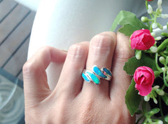Opal Ring,Blue Opal Ring,October birthstone,statement ring,agate ring