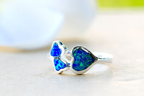 3 hearts,Opal Ring,Stone Ring,October birthstone,statement ring,agate ring,Gemstone ring,geode ring,family ring,gifts idea,summer,trending