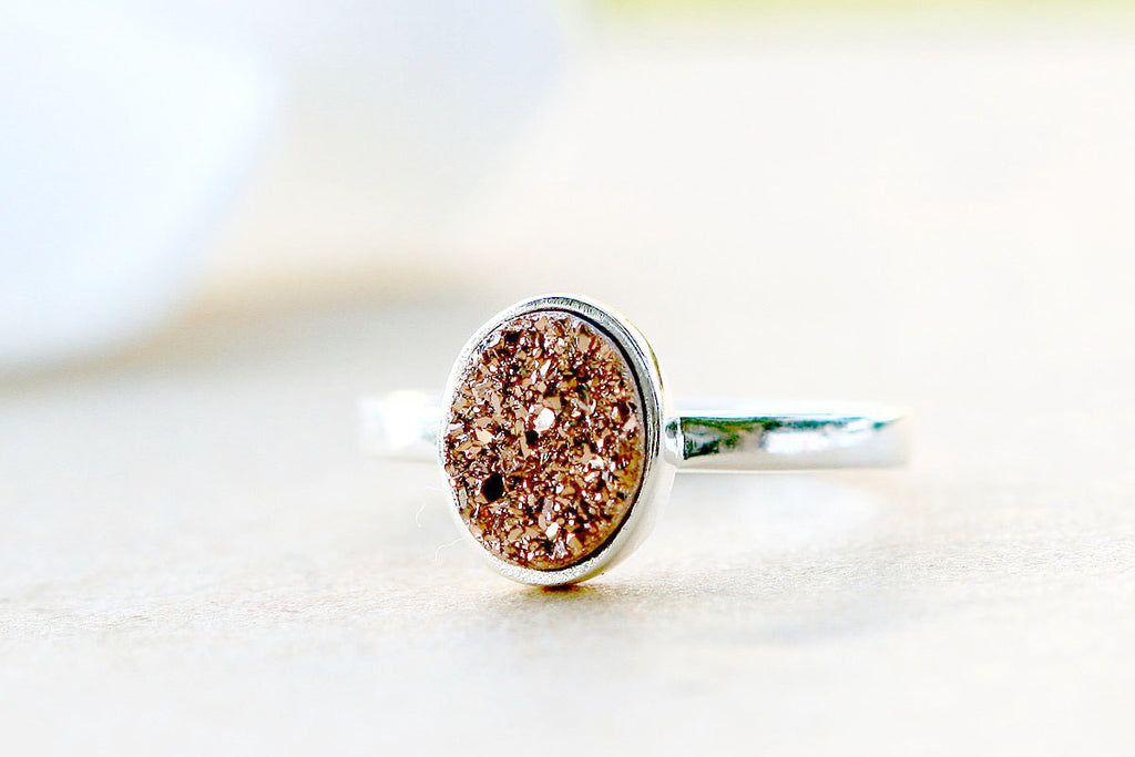 Rose Gold ring,Druzy ring,Geode ring,Gemstone ring,Quartz ring,sterling ring,Stone Ring,simple ring,agate silver,Stacking Ring,Gifts idea