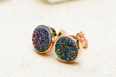 Rose Gold,Peacock Druzy Earrings,Stud Earrings,Geode Earrings,Drusy stud,Druzy stud,Quartz stud,Silver stud,Agate Earring,Mothers day