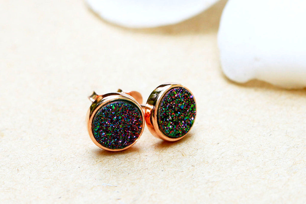 rose druzy on img earrings silver posts stud products acfe gold hypoallergenic