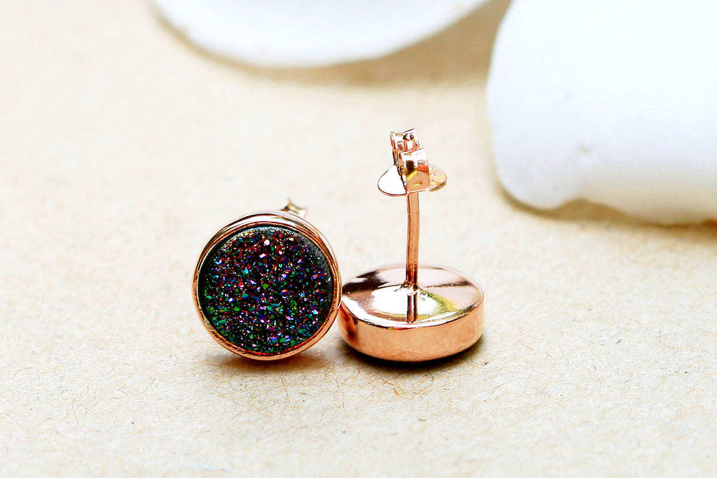 silver gold stone kendall stud with pin plated center earrings druzy