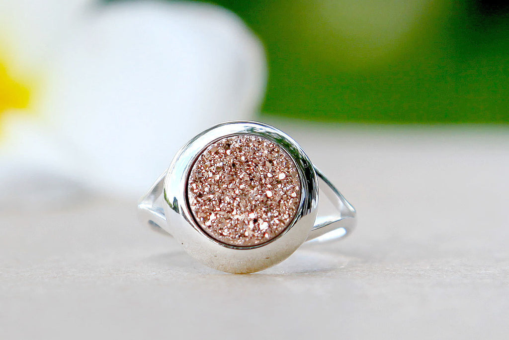 Rose gold,Druzy ring,Geode ring,Gemstone ring,Quartz Ring,Drusy Ring,Agate Ring,stone ring,delicate ring,unique,silver,jewelry,stacking ring