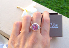 Druzy ring,Geode ring,Gemstone ring,Quartz Ring,Drusy Ring,Agate Ring,drusy ring,stacking ring,agate ring,silver,jewelry,unique,druzy,silver