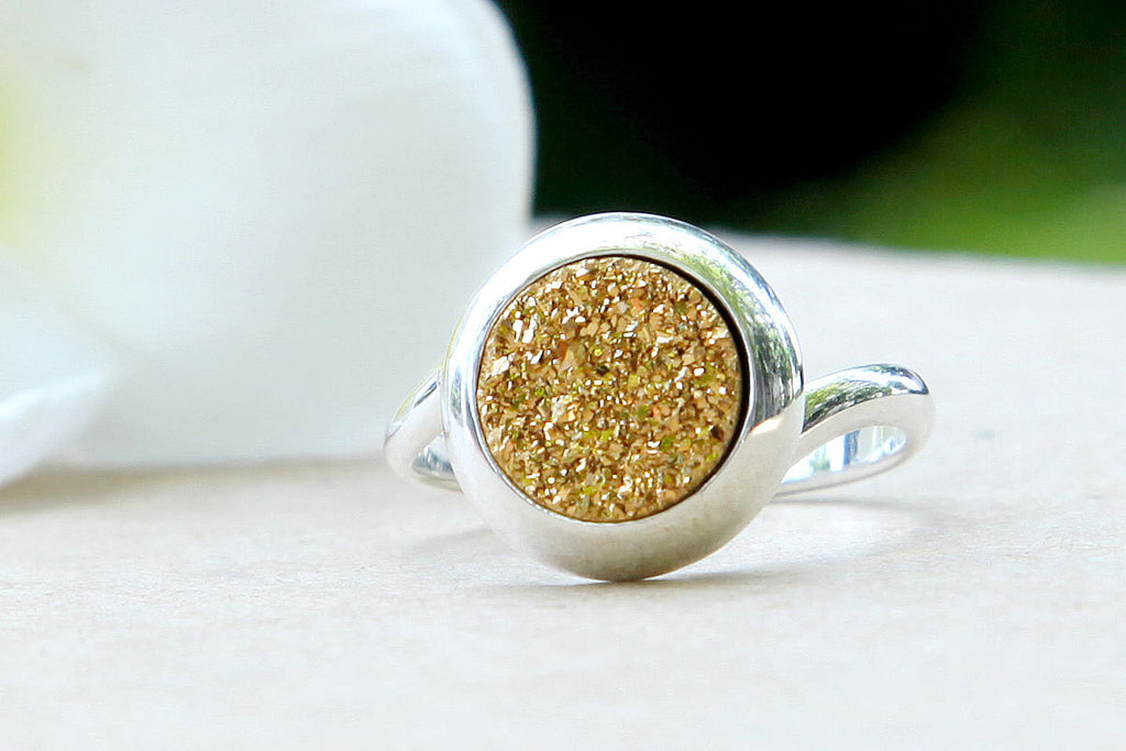 Gold,Quartz Ring,Druzy ring,Geode,Gemstone ring,Drusy Ring,Agate Ring,stone ring,Stacking ring,delicate ring,sparkle ring,silver,jewelry