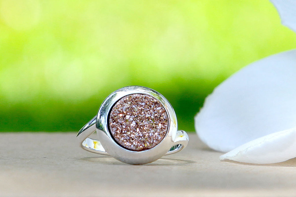 Rose Gold,Quartz Ring,Druzy ring,Geode ring,Gemstone ring,Drusy Ring,Agate Ring,Drusy ring,stone ring,statement ring,silver,unique,handmade